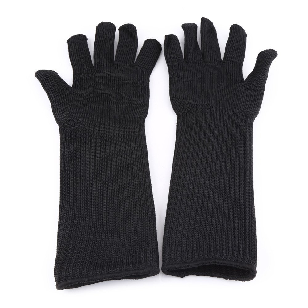 1 Pair Stainless Steel Wire Metal Mesh Cut-resistant Gloves With Long Cuffs