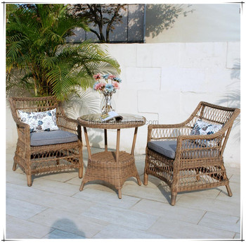 Natural Handmade Rattan Wicker Set 2 Lounge Arm Chairs