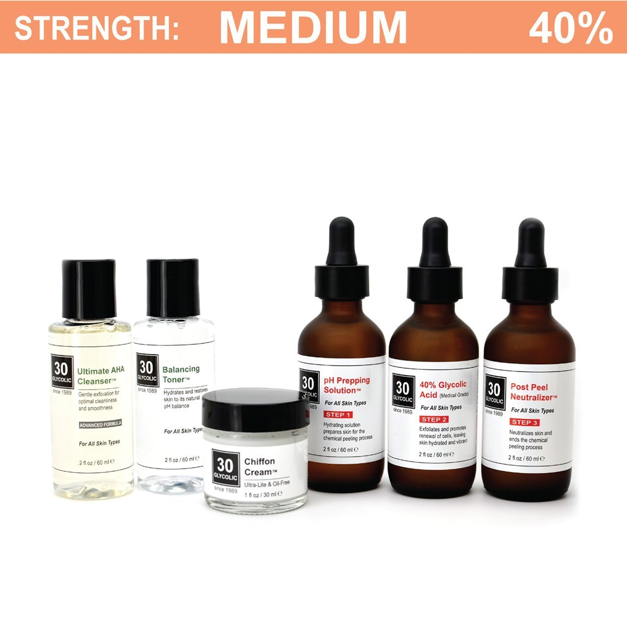 40% Glycolic Peel System for Acne/Oily/Combo Skin - FREE $45 Cleanser/Toner/Cream INCLUDED