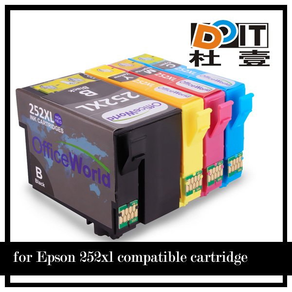 T252 refill inkjet cartridges for epson wf 3640 with big black cartridge with arc