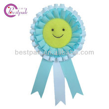 lovely smile face printed dot grosgrain ribbon brooch