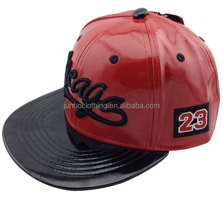 Two color red wine and black faux leather snapback cap hat 3D puff chicago flat brim adjustable baseball cap Street dance cap ha