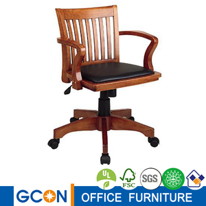 Durable Wooden Swivel Desk Chair w Arms
