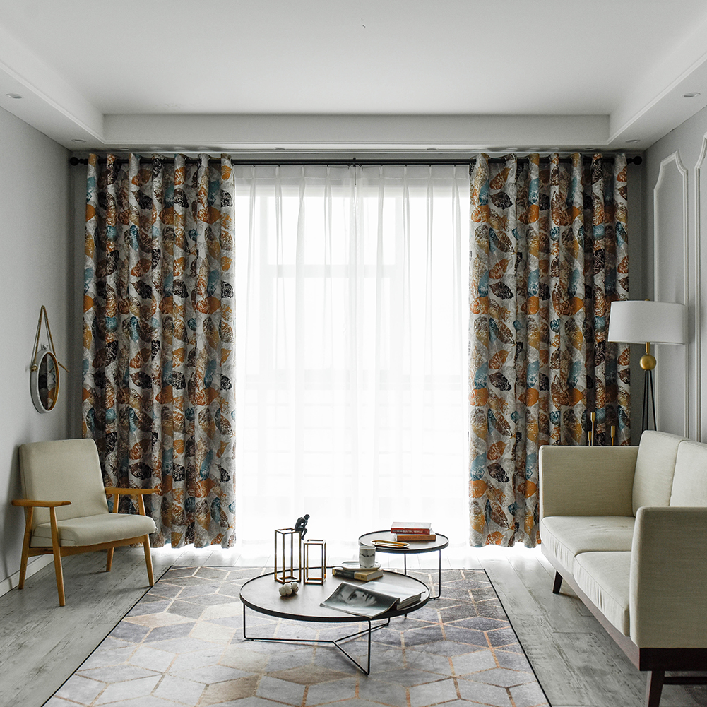 Modern Excellent Quality Leaves Printed Sun Protection Window Blackout Curtains Sets Panels Drapes for Hotels Cafe Rooms