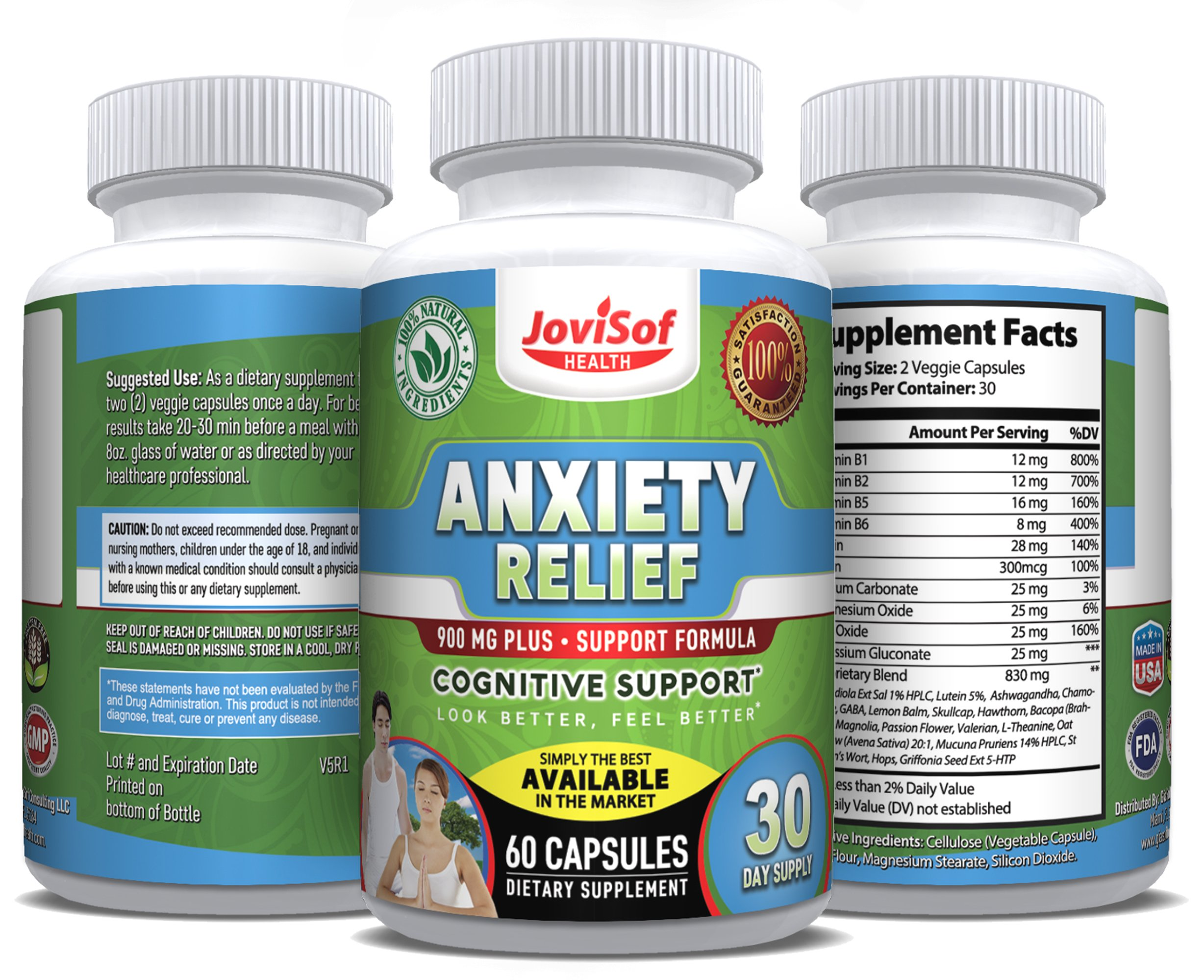 Mood Booster + Non-GMO Supplements for Stress and Anxiety Relief w/5-HTP, Ashwagandha and Artichoke, Serotonin Booster, Soothing Stress Support, All Natural Anti-Anxiety Pills   60 Count