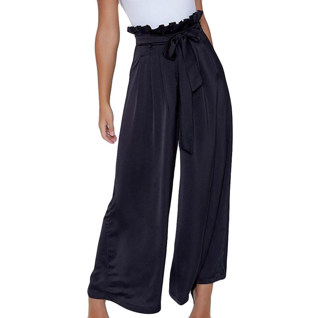 a7893b8d23ec Get Quotations · Women Wide Leg Pants Straight Office Lady Pants High Waist  Elastic Dress Trousers Hemlock (XL