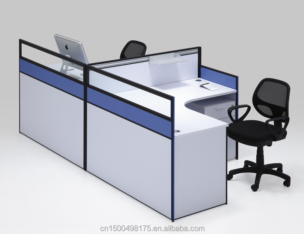 common office partition with drawers 2 person workstation