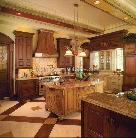 Luxe classique en bois massif armoires de cuisine avec cuisine le meubles de cuisine - Cuisine de luxe americaine ...