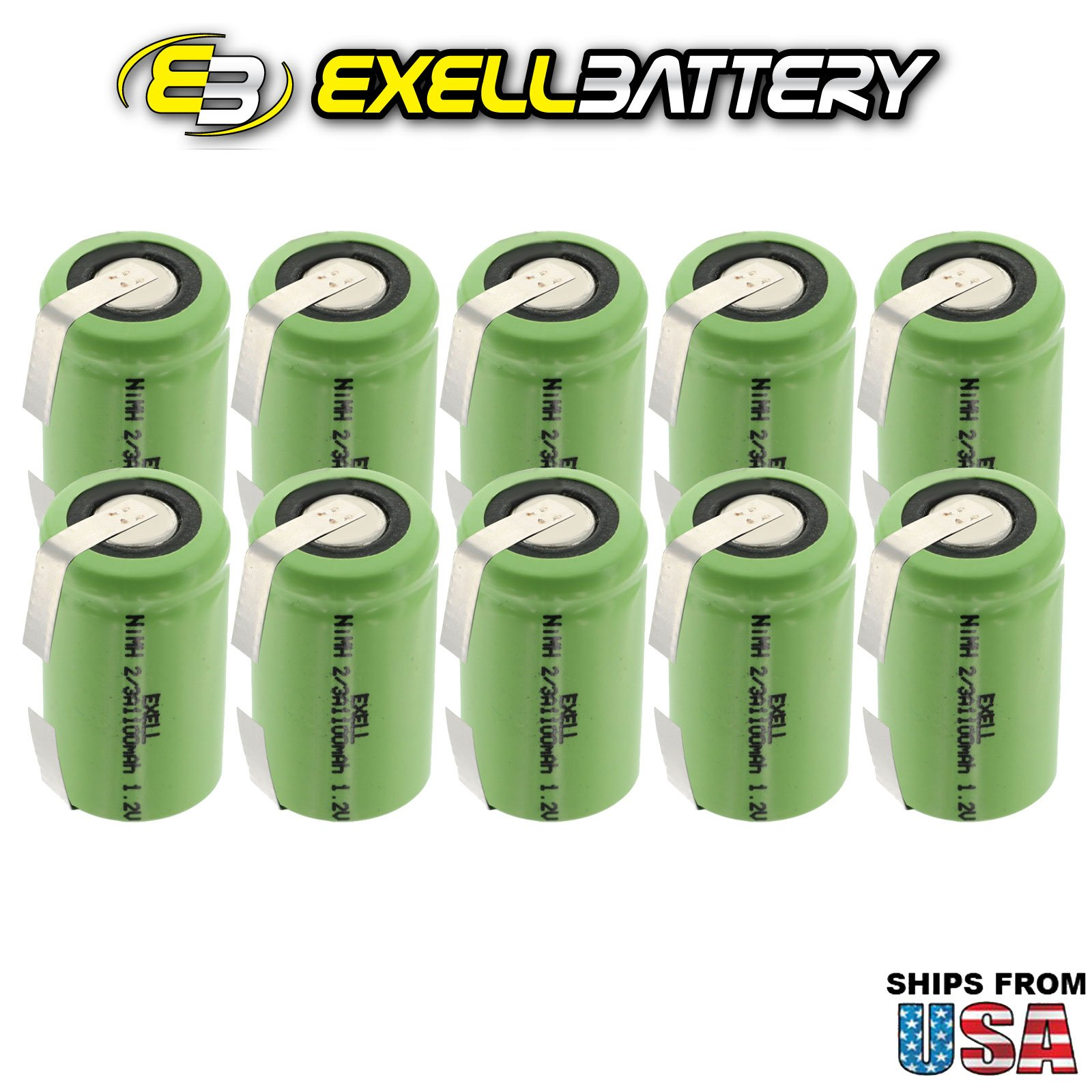 10x Exell 2/3A Size 1.2V 1100mAh NiMH Rechargeable Batteries w/Tabs use with high power static applications (Telecoms UPS and Smart grid) radio controlled devices electric tools electric mopeds