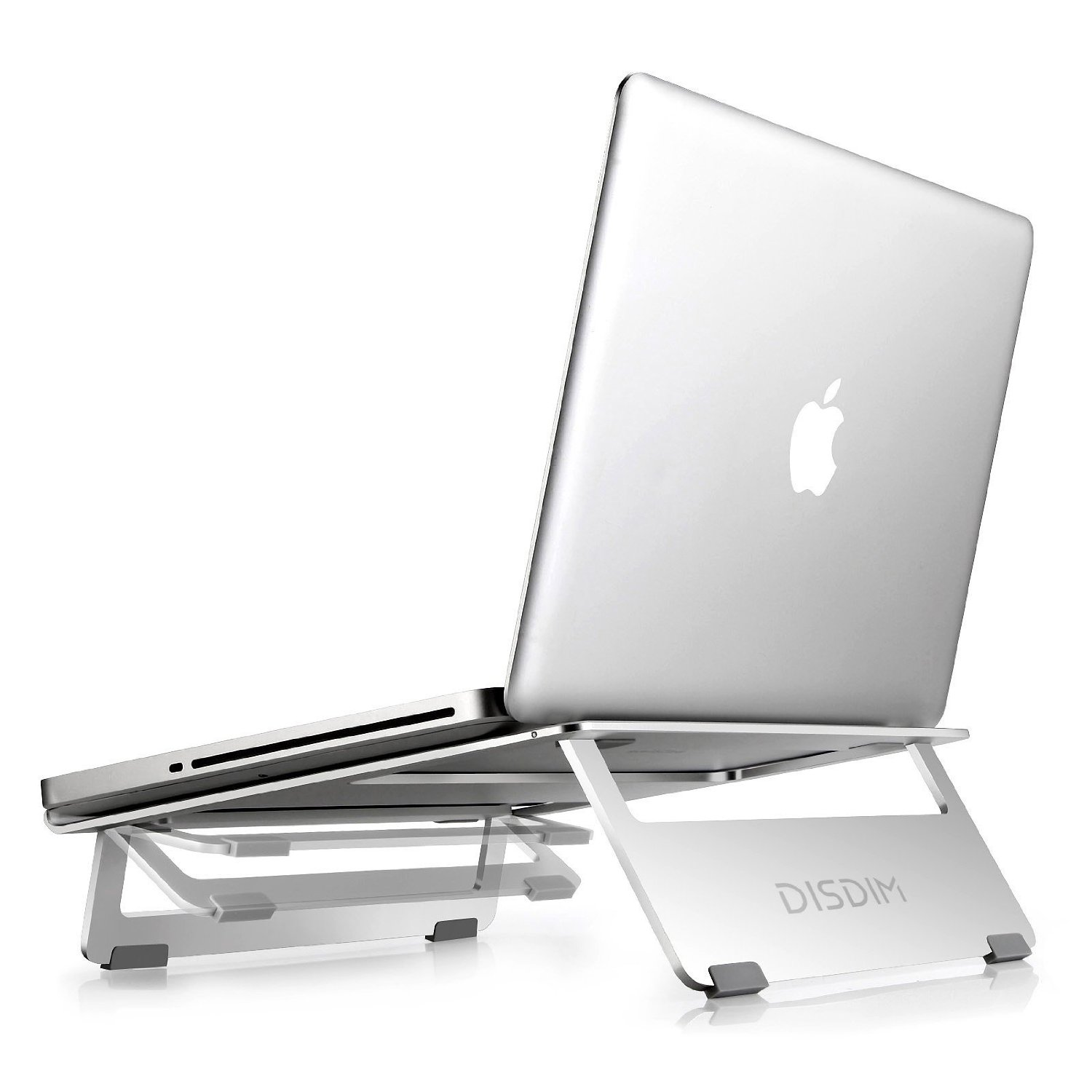 DISDIM Laptop Stand for Macbook,Aluminum Foldable Stand for Macbook / Macbook Pro / Macbook Air / iPad Pro / Notebook / PC Laptop,Height-adjustable Double vertical (Silver)
