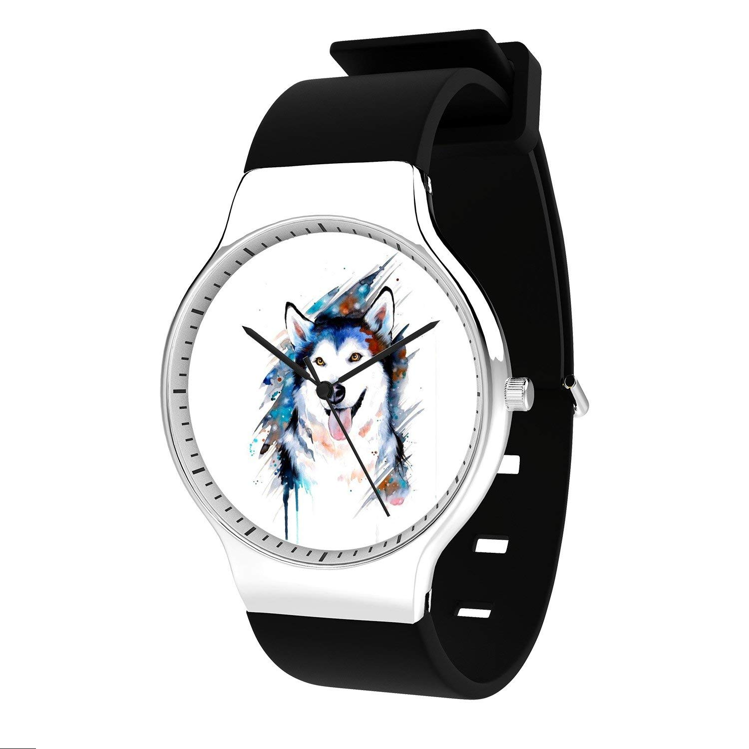 FELOOWSE Wolf Watch Men'S Quartz Watches, Minimalist Slim Japanese Quartz Youth Silicone Watches, Fashion Practical Waterproof Boys Watch Customized Watches