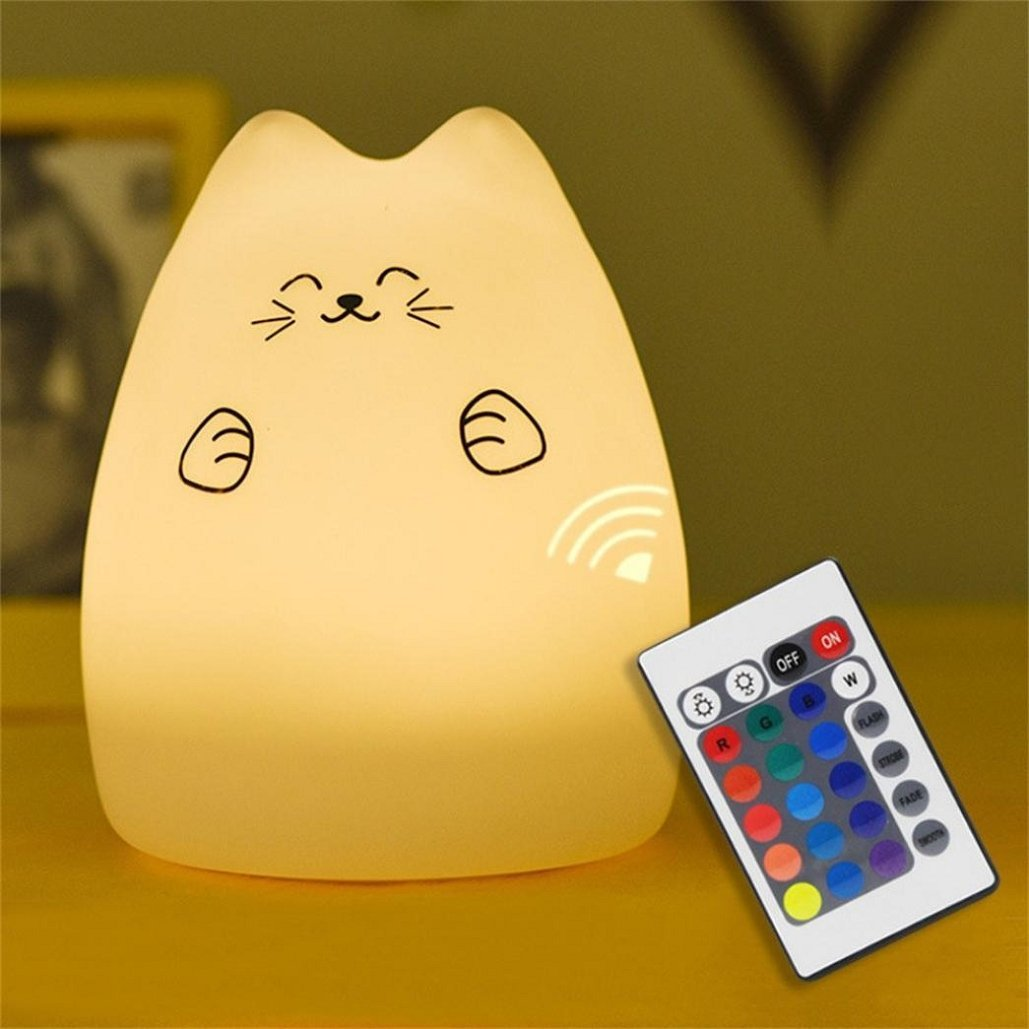 Cute Kitty LED Children Night Light with Remote, Multi-color Silicone Soft Baby Nursery Portable Lamp ,7-Color Light Breathing Mode, 1200mAh Li-ion battery ,USB Rechargeable,Tuscom (B)