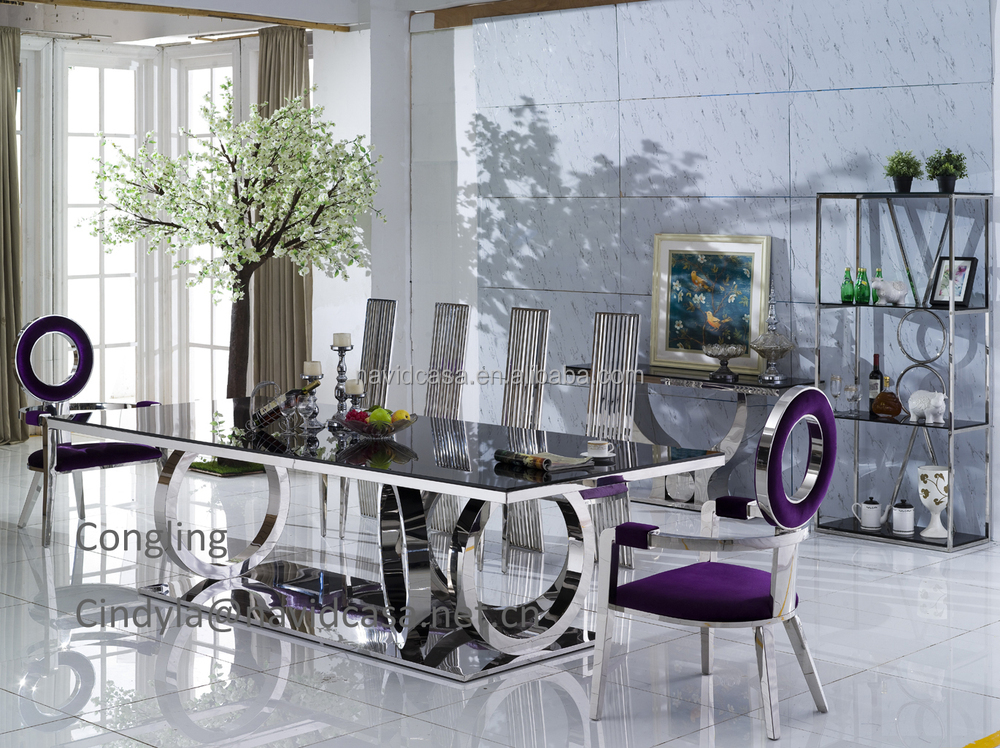Latest model a8068 glass top metal leg dining table buy for Latest style dining table