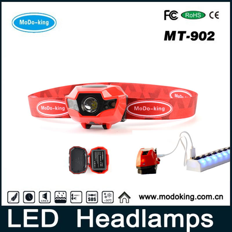USB Port Rechargeable Led Head Torch Headlamp Headlight Flashlight