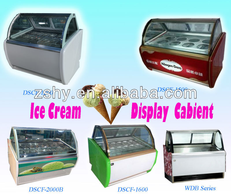 Straight Glass Refrigerated Cake Display Showcase