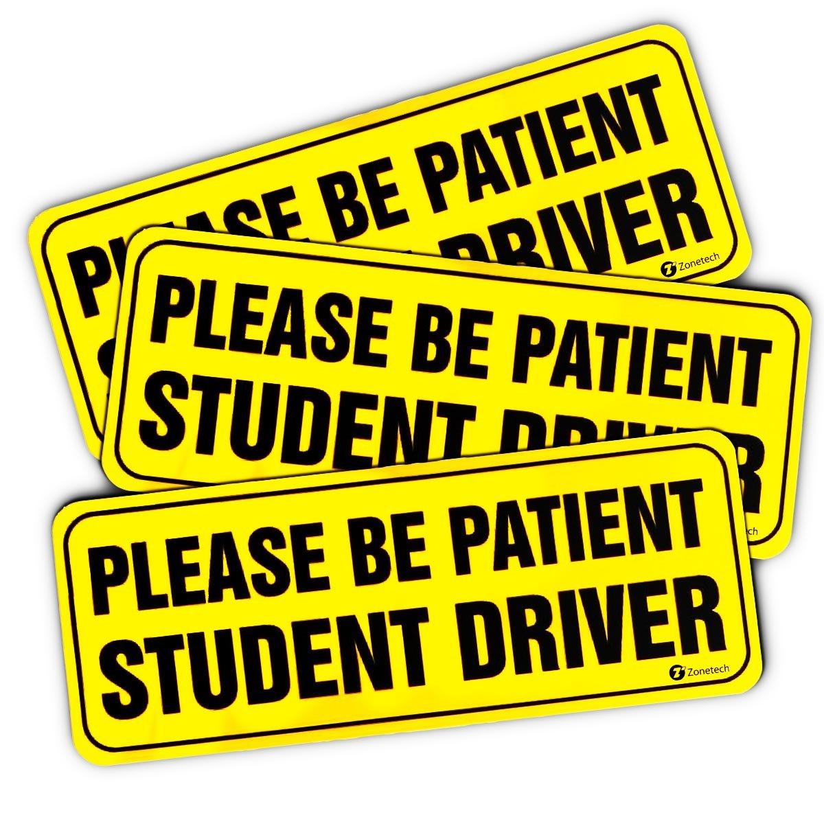 "Zone Tech ""Please Be Patient Student Driver"" Vehicle Bumper Magnet – 3-Pack Premium Quality Neon ""Please Be Patient Student Driver"" Safety Sign Bumper Magnet"