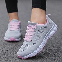 Женская повседневная обувь, модные дышащие прогулочные сетчатые кроссовки на плоской подошве, женская спортивная обувь 2020, Вулканизирован...(Китай)