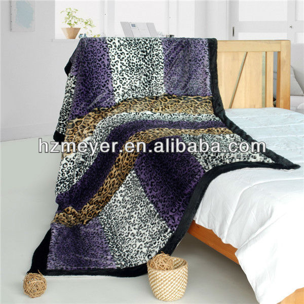 2014 Hot Sale Luxury 100% Polyester Cozy Coral Fleece High Quality Super Soft Blanket Printed Leopard Bedding Sets