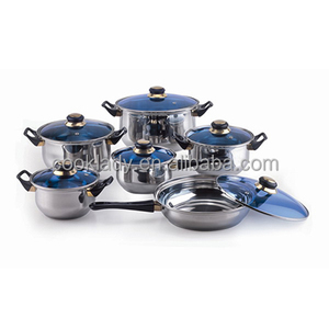 factory price 12pcs happy baron stainless steel cookware set