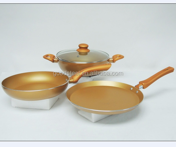 Golden color press aluminum non-stick frying pan with induction pan