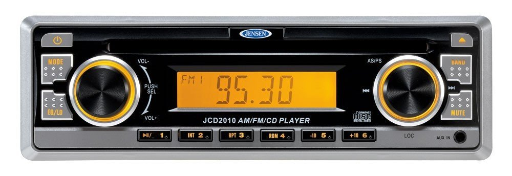 Jensen 160W AM/FM/CD/Aux Input with Removable Face Digital Audio Compact Stereo, 4x40W Output power, Euro-DIN (sleeve-mount) chassis design, Amber LED illumination, Electronic AM/FM tuner