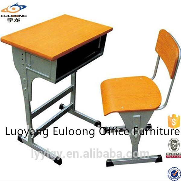 Metal Material Used For School Student Single Desk And Chair For