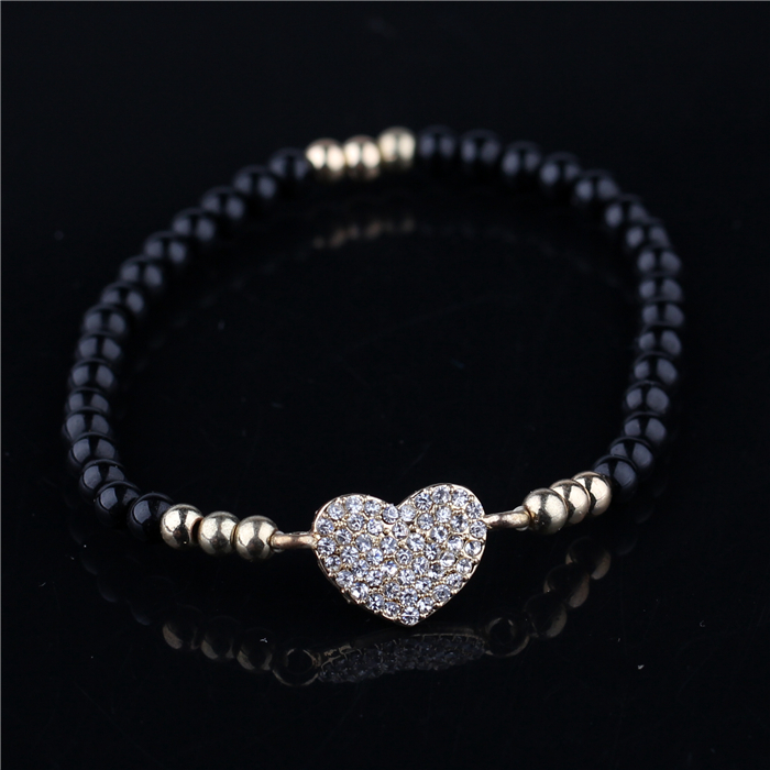 new wholesale HSQ black crystal bracelet micro pave heart diamond bracelet