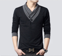 2016 new design China supplier mens fashion long sleeves specially v neck polo t shirts