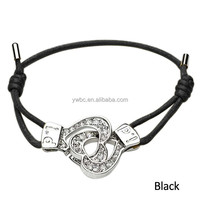 Black heart crystal handcuffs rope bracelets (H105886)