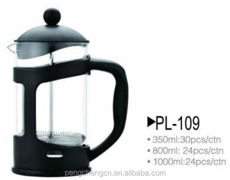 New design heat resistant coffee plunger press coffee maker
