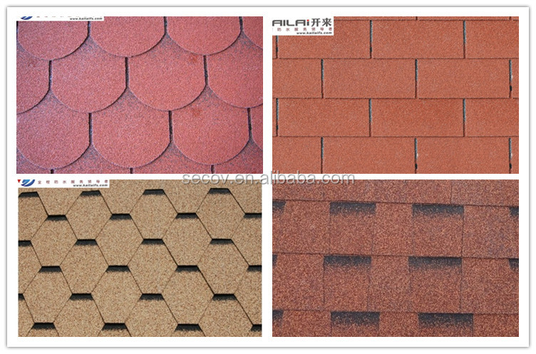 KLAI-201 colorful fish-scale / hexagonal mosaic / standard 3-tab / laminated asphalt roofing shingles(low cost, high quality)
