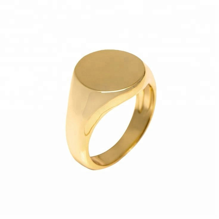 Custom stainless steel yellow gold rounded engravable signet <strong>rings</strong>