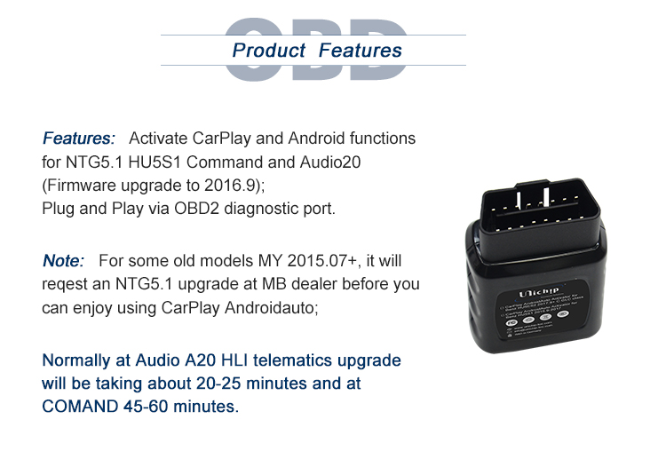 Unichip Plug And Play Obd2 Carplay Android Auto For Mercedes Carplay Update  Upgrade - Buy Mercedes Carplay,Mercedes Carplay Update,Mercedes Carplay