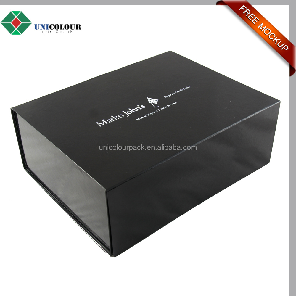 custom logo printed black paper foldable rigid gift box packaging
