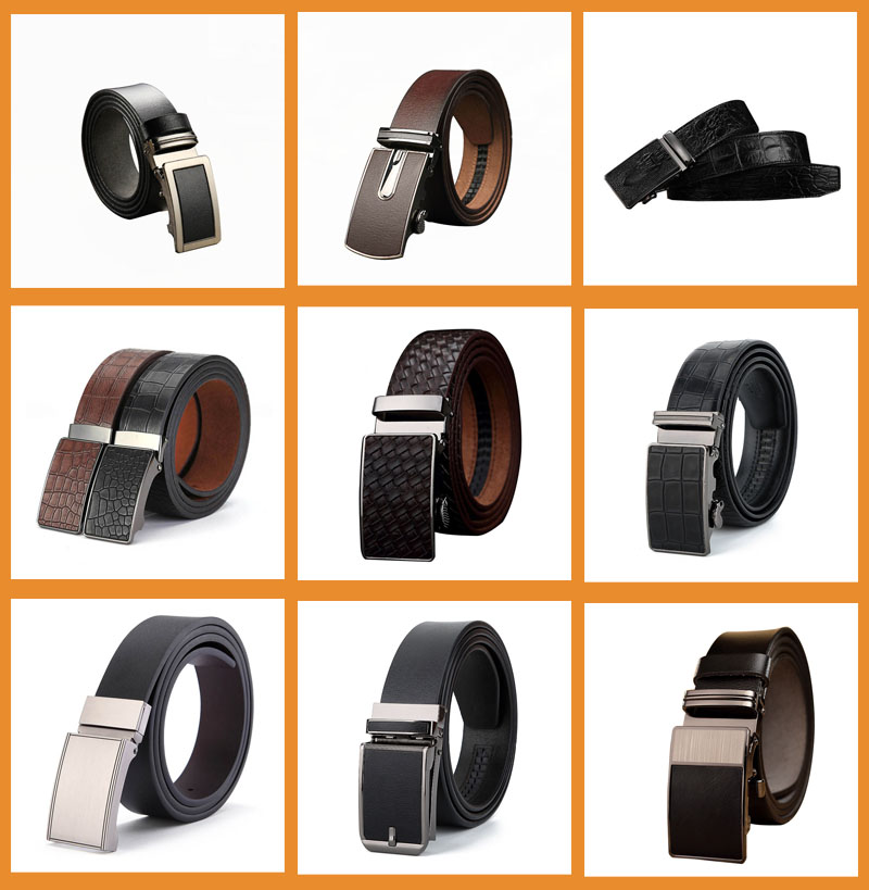 2018 alloy automatic buckles decoration cloth men ratchet belt