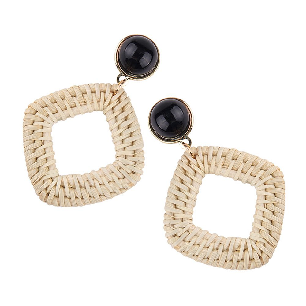 2019 New Style Fashion bohemian handmade raffia weave earrings women boho jewelry earrings