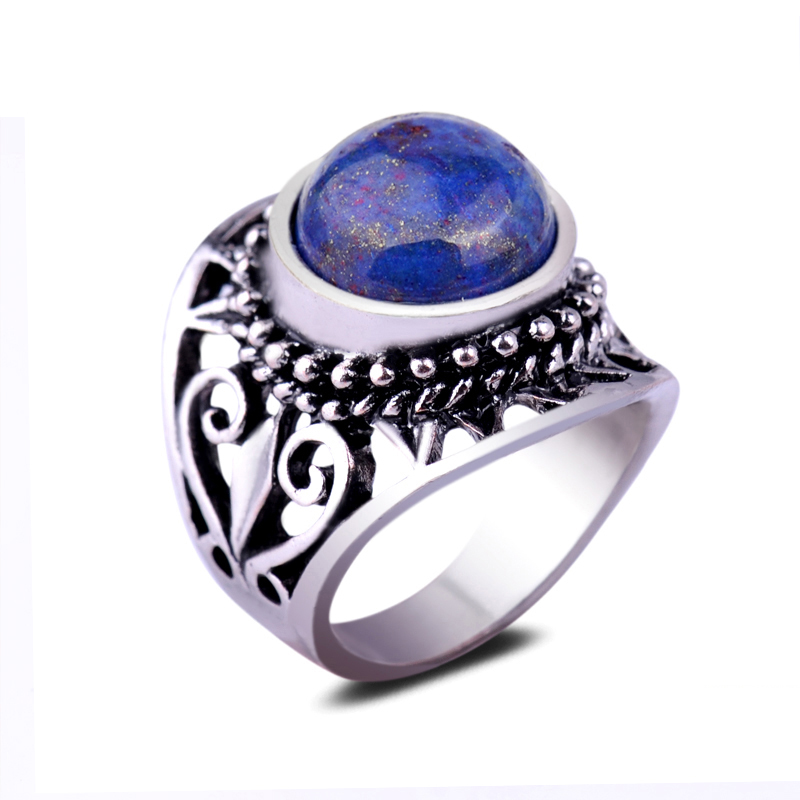 New Stylish Hollow Engraved Gold Star Spot Stone Finger Ring Round Lapis Lazuli Natural Stone Ring For Men