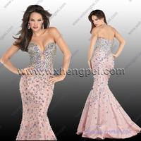 Diamond strapless wedding bridesmaid long dresses