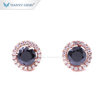 Tianyu gems hot sale rose gold earrings 1ct black moissanite with 14k gold earring stud