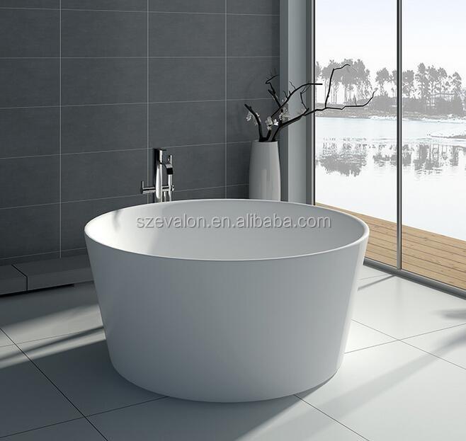 Modern Double Apron Bathtub Resin Terrazzo Round Bathtub