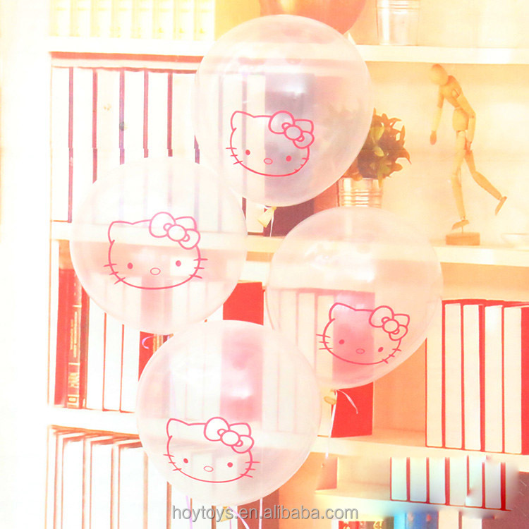12inch clear ballon print kitty latex balloon for party