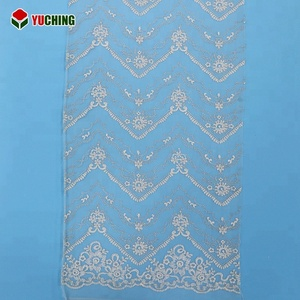 YNF25833 High quality lace product type and ivory color embroidery mesh tulle lace fabric