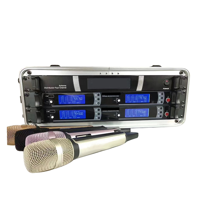 High quality 4 antenna karaoke system UHF microphones wireless