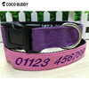 Customized Embroidered with Laser Engraved Side Release Plastic/Metal Buckle Bamboo Fabric Polyester Nylon Dog Collar
