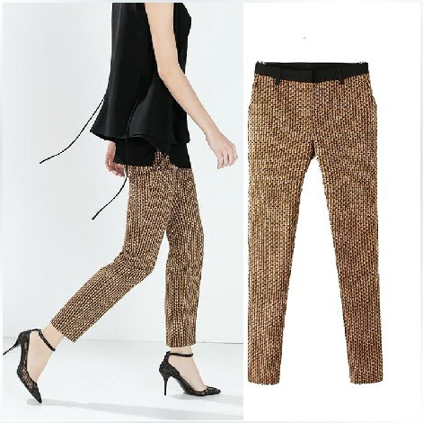 d63306197 Get Quotations · zara women 2014 winter new European and American big retro  print trousers women stitching Slim trousers