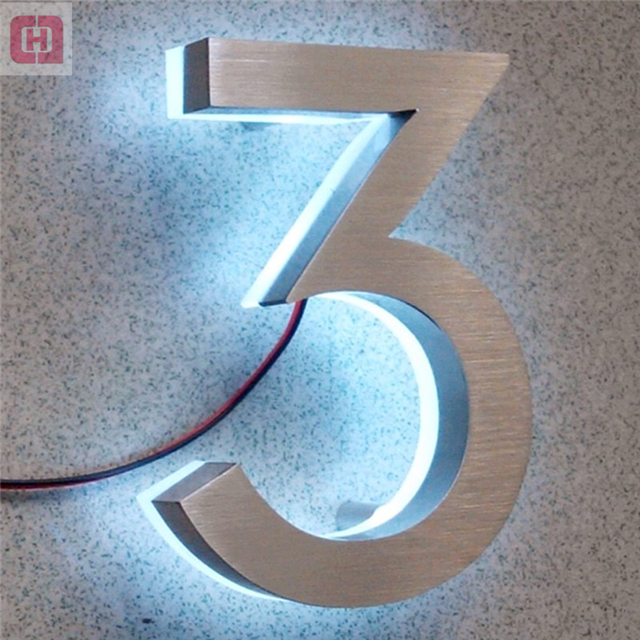 Custom acrylic Signage 3d led backlit metal stainless steel house numbers and letters