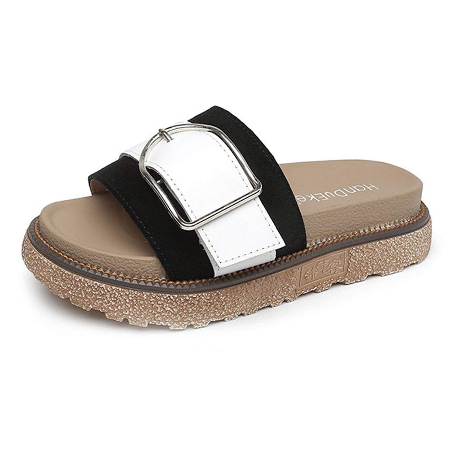 66284ec22acf Get Quotations · CYBLING Womens Slip On Slide Flat Sandals Platform Wedge  Sandal Shoes with Buckle Accent