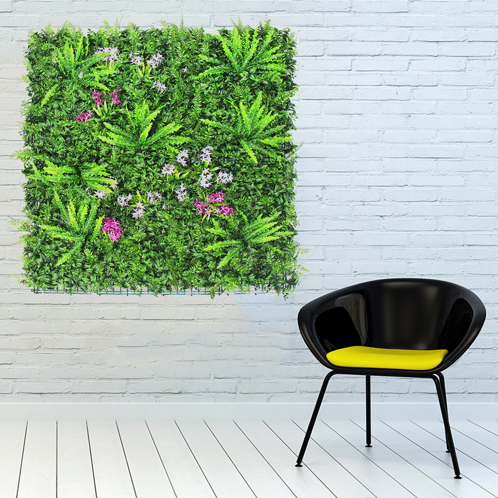 Modern house design colorful fake hanging wall plants with uv leaves