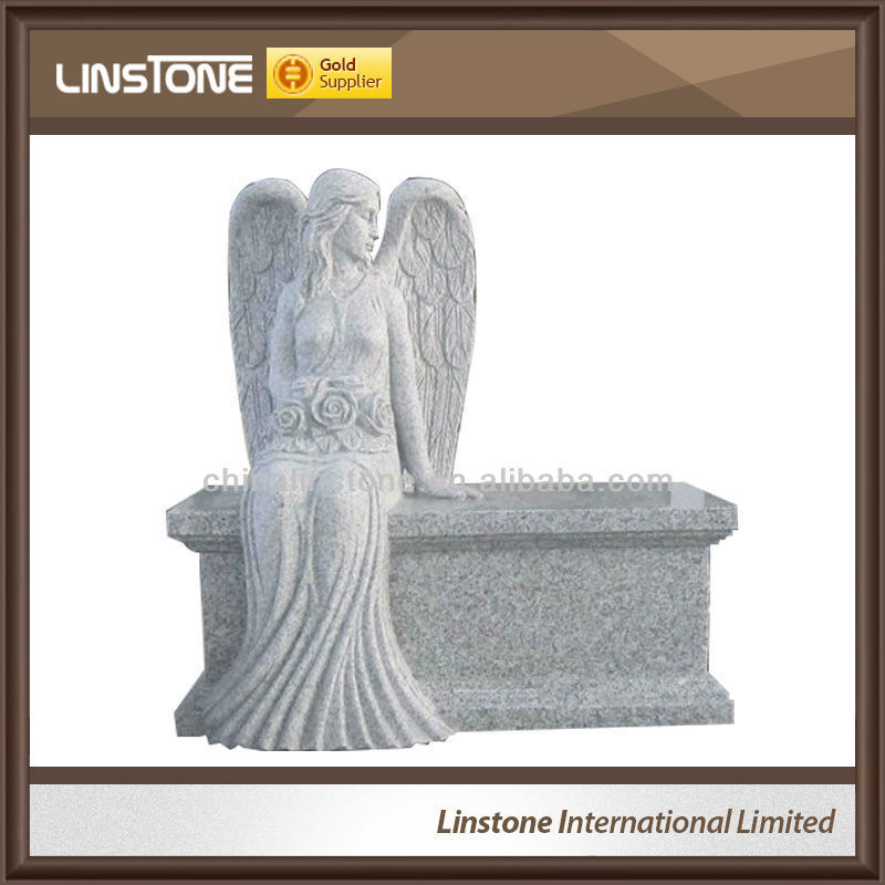 Angel granite bench tombstone