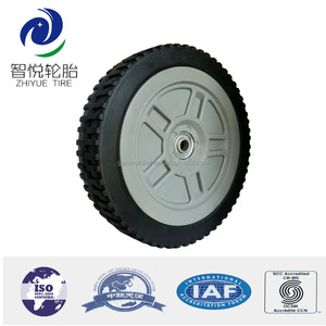 9 inch solid rubber wheel with bearing for lawn mower, baby stroller, air compressor